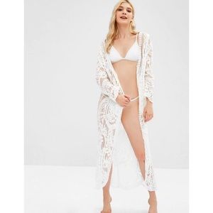 ZAFUL White Lace Beach Cover Up